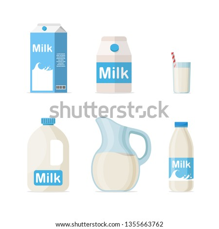 Set of milk in different packages: glass, carton, bottle isolated on White background Foto stock ©