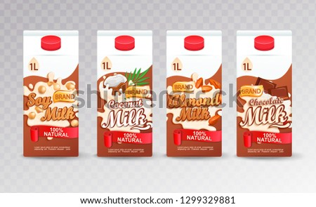 Set of milk tetra packs with different tastes.Fresh and natural soy, coconut,almond and chocolate milk for your brand,logo, template, label, emblem for packaging, packing,advertise.Vector illustration