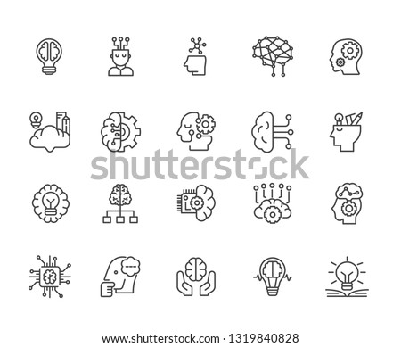 Set of mindfulness Related Vector Line Icons. Includes such Icons as idea, accuracy, thoughts, concentration, brainstorming, exercises, tasks, solution, genius, ingenuity, invention