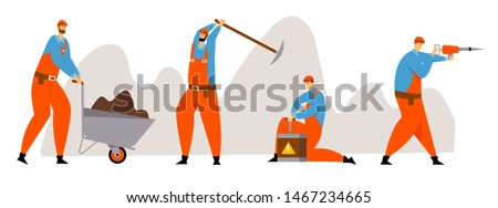 Set of Miner Characters, Coal or Minerals Mining, Workers in Uniform with Jackhammer, Wheelbarrow, Pickaxe and Dynamite at Work. Extraction Industry Profession Working Cartoon Flat Vector Illustration Stockfoto ©