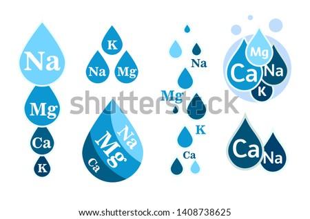 Set of Mineral water icon. Blue drops with mineral designations. Simple flat logos template. Healthy water modern emblems idea. Isolated vector simple sign collection on white background.