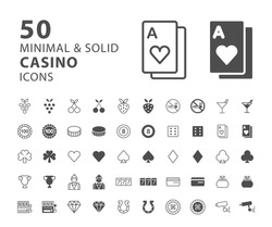 Set of 50 Minimal and Solid Casino Icons on White Background . Vector Isolated Elements