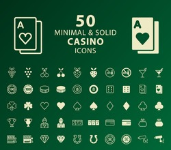 Set of 50 Minimal and Solid Casino Icons. Vector Isolated Elements.