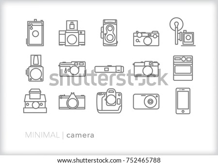 Set of 15 minimal camera icons of SLR film and digital camera bodies through the years including flash, medium format, instant, smart phone, point and shoot, and professional