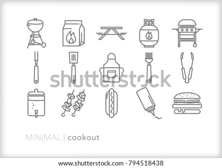 Set of 15 minimal cookout icons for a perfect summer bbq party outside including grill items such as tongs, apron, picnic table, charcoal, condiments, skewers and lemonade