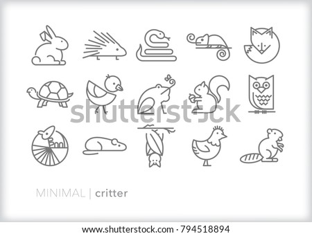 Set of 15 minimal critter icons of small animals and reptiles including fox, bunny, porcupine, snake, lizard, turtle, bird, frog, squirrel, owl, mouse, bat, armadillo, and beaver