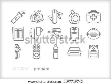 Set of 15 minimal emergency icons for preparation for a natural disaster or terrorist attack including food, water, tools, power, light and safety