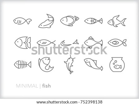Set of 15 minimal fish icons showing aquatic animals with various fins, scales, tails and gills swimming in water, as a skeleton or in a bowl