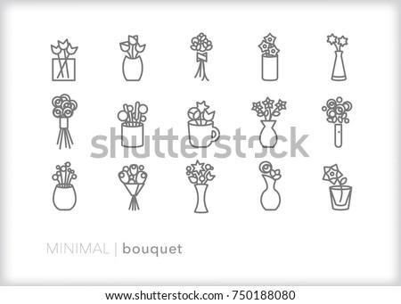 set of 15 minimal flower