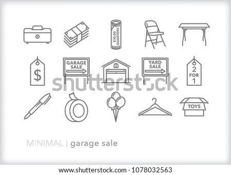 Set of 15 minimal garage sale icons relating to hosting a neighborhood yard sale including cash and coins, folding chair and table, signs, tags, marker, balloons and boxes