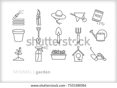 set of 15 minimal garden icons