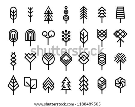 Set of Minimal Geometric line tree icon