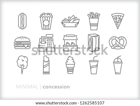 Set of 15 minimal gray concession stand icons for a sport game or event including food, drink, napkins and cash register Сток-фото ©