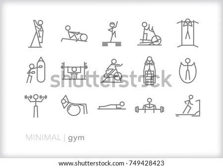 Set of 15 minimal gym line icons showing stick figures sweating, working out and lifting  with various cardio machines and pieces of equipment including treadmill, jump rope, stairs and weights