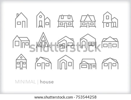 Set of 15 minimal house icons showing single family homes in various sizes, shapes, windows and doors to be used to make a neighborhood or community
