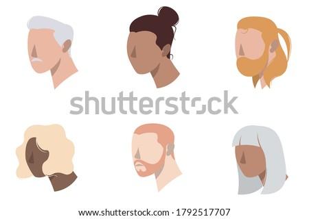 set of minimal icon people 3 4