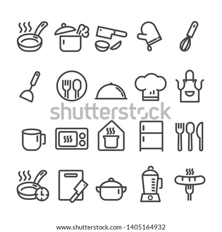 Set of minimal kitchen tools or cooking icon isolated modern outline  on white background