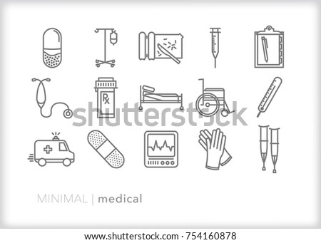 Set of 15 minimal medical icons of items commonly found in hospitals, pharmacies and health care providers including prescription, ambulance, wheelchair, needle, chart, IV, thermometer and crutches