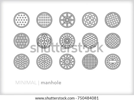 Set of 15 minimal metal manhole covers found on urban streets for electrical, sewer and drainage access for city workers
