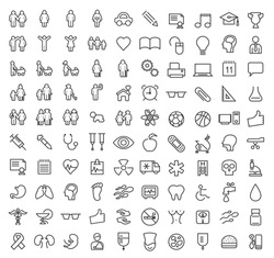 Set of 100 Minimal Modern Elegant White Stroke Icons (Family, People Education, School and Medical)