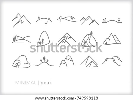 set of 15 minimal mountain peak