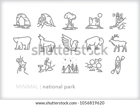 Set of 15 minimal national park icons showing places, animals and recreation visitors can do on vacation including hiking, climbing, kayaking and camping with wildlife