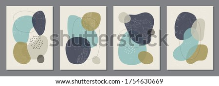 Set of minimal posters with abstract organic shapes composition in trendy contemporary collage style, can be used for wall decoration, postcard, cover design Foto stock ©