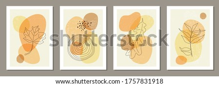 Set of minimal posters with abstract organic shapes composition in trendy contemporary collage style, can be used for wall art decoration, postcard, cover design stock photo