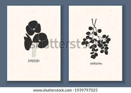Set of minimal posters with plants, flowers, poppy, branch, leaves, and textured background. Monochrome vector illustration with abstract nature elements. Great design for your logo, print poster.