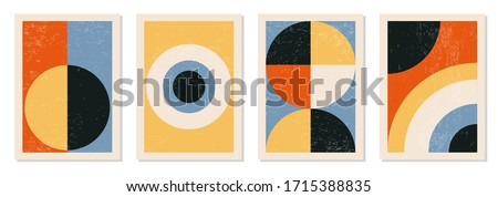 Set of minimal 20s geometric design posters, vector template with primitive shapes elements, modern hipster style Stockfoto ©