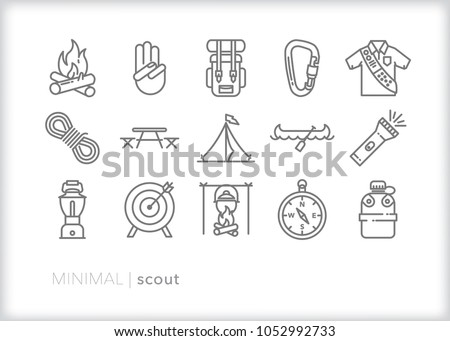 Set of 15 minimal scout icons showing the equipment and activities for hiking, camping and outdoor education including fire, cooking, backpack, tent, canoe, compass, canteen, archery and lantern Stock photo ©