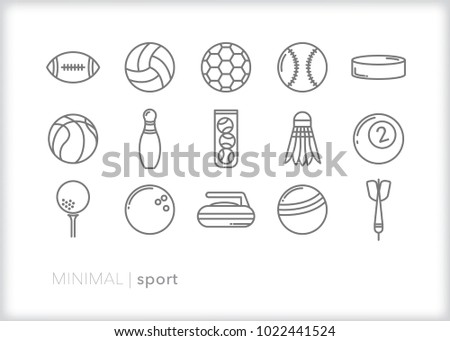 Set of 15 minimal sport icons of various balls and equipment for athletic competition including football, tennis, soccer, baseball, hockey, volleyball, bowling, darts, golf, bowling