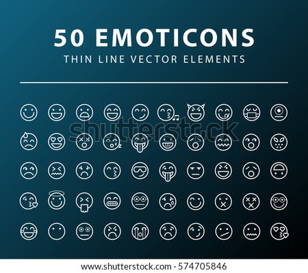 Set of 50 Minimal Thin Line Emoticons Icons on Dark Background . Isolated Vector Elements