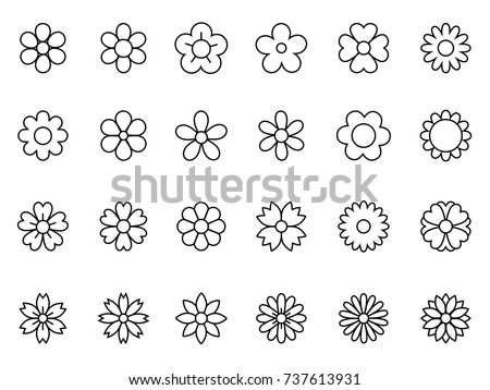Set of Minimal Thin Line Flower Icon  #737613931