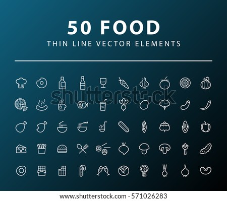 Set of 50 Minimal Thin Line Food Icons on Dark Background. Isolated Vector Elements.