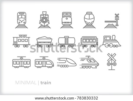 set of 15 minimal train icons