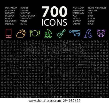Set of 700 Minimal Universal Isolated Modern Elegant Neon Color Thin Line Icons on Black Background.