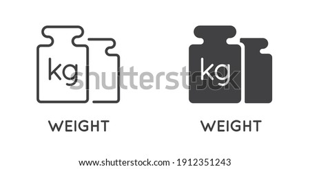 Set of Minimal Weight and Scales Related Vector Line Icons. Perfect Pixel. Outlined and Filled. Photo stock ©