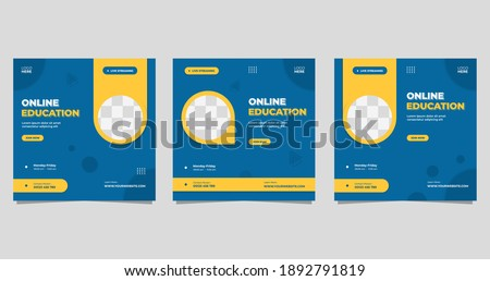 Set of minimalist background with circle yellow frame. Suitable for social media post template, Online education, Business webinar, and Other Seminar