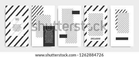 Set of minimalist black and white stripe line template background. Suitable for social media stories, story, roll banner, expandable banner, flyer and brochure.