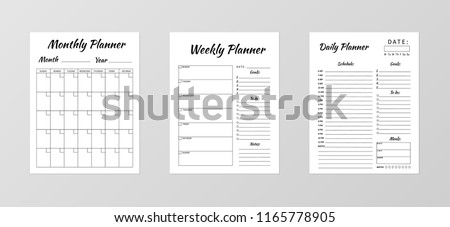 Set of minimalist planners. Daily, weekly, monthly planner template. Blank white notebook page isolated on grey. Business organizer page. Paper sheet. Realistic vector illustration.