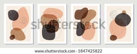 Set of minimalist posters with abstract organic shapes composition in trendy contemporary collage style, can be used for art gallery, wall decoration, interior design