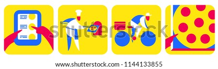 Set of minimalistic abstract icons for pizza delivery services. Hand holding pc tablet and choosing pizza, chief baking, courrier riding bicycle, hand holding box with pizza. Clipping mask used. Photo stock ©