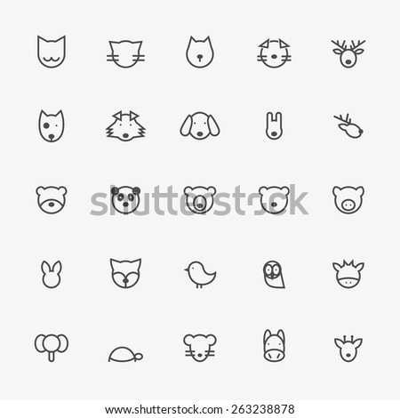 set of minimalistic animal line