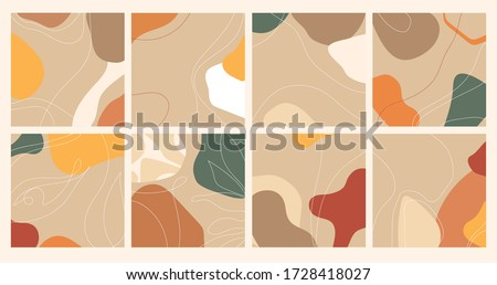 Set of minimalistic backgrounds with abstract shapes and lines, doodle objects. Modern trendy vector illustration for print colorful summer fabric or wallpaper, instagram covers.