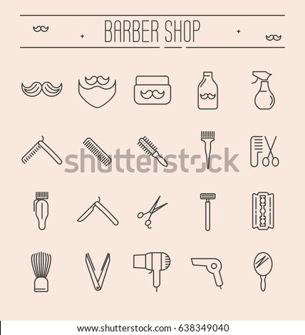 set of minimalistic barber shop