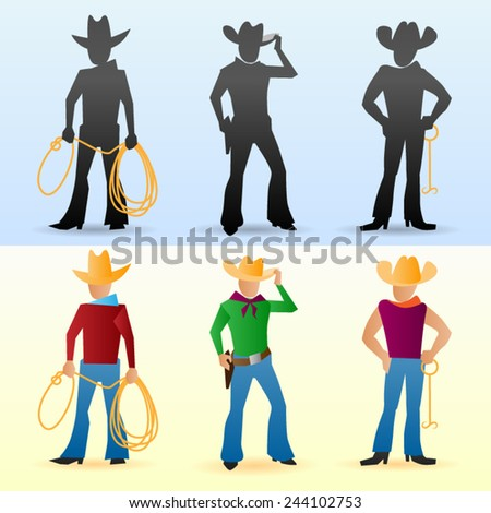 set of minimalistic cowboy