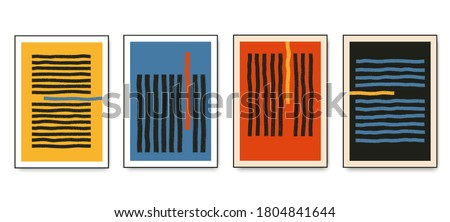 Set of minimalistic geometric posters with dynamic line elements. Modern contemporary trendy abstract creative templates vector illustration.