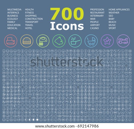 Set of 700 Minimalistic Icons on Circular Buttons . Isolated Vector Elements
