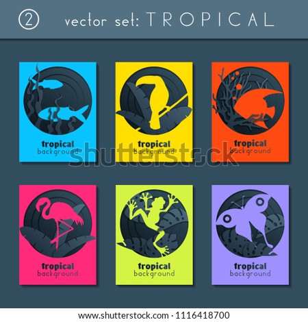Stock Photo set of 6 minimalistic papercut designs with a tropical animals theme. US Letter size. (eps10)